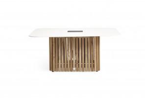 Кофейный стол SUNS Savona Matt White | FSC teak base | Solar