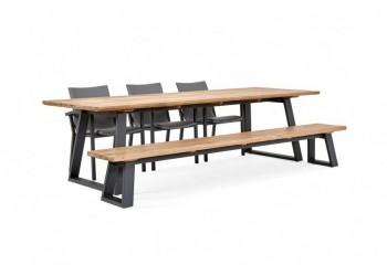 Обеденный стол SUNS Tomar 280 х 100 FSC teak Matt royal grey/Matt white