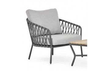 Кресло SUNS Nappa Matt royal grey/Silver sand/Forest green