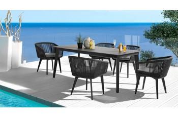 Обеденный стол COUTURE DIVA 220 x 90 Антрацит/Серый