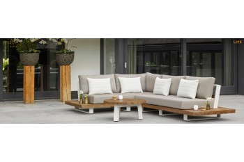 Угловой комплект LIFE OUTDOOR Living  FITZ ROY TEAK SMALL 343 х 260 Белый/Натуральный/Хаки