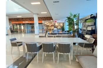 Обеденный стол раскладной AURA AU 06 WB LEON 220-340 x 110 Белый/Серый