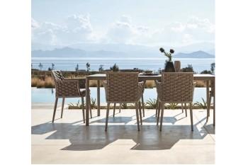 Обеденный стол раскладной AURA LEON 220-340 x 110 Белый/Серый