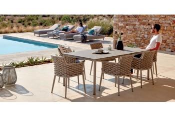 Обеденный стол раскладной AURA LEON 220-340 x 110 Антрацит/Серый